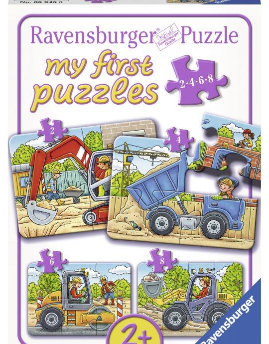 Mijn eerste puzzel Mijn favoriete bouwwagens 2+4+6+8 stukjes