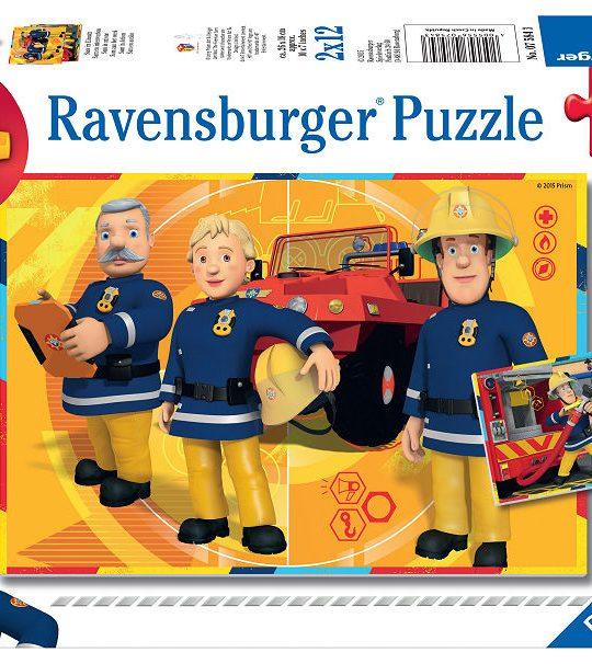 Puzzel 2x12 stukjes Brandweerman Sam aan het werk