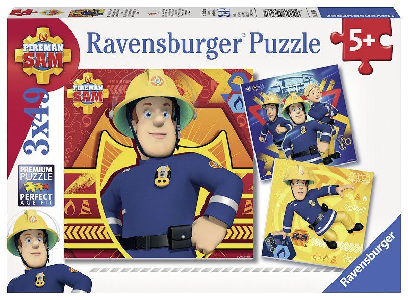 Puzzel 3x49 stukjes Brandweerman Sam: Bij gevaar Sam roepen